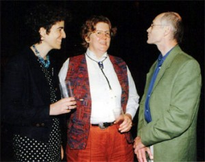 (from left to right): Andrea Weiss, Greta Schiller, and Alain Marchand, director of the Cinematheque Francaise, at the Jerusalem Film Festival in 1996.